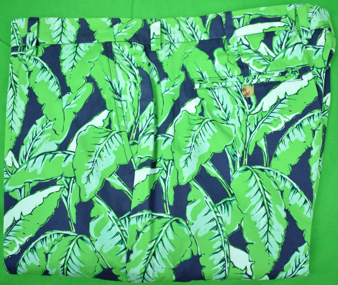 Vineyard Vines Jungle Navy/ Green Palm Leaf Print Brushed Cotton Trouser Sz 40W/32L
