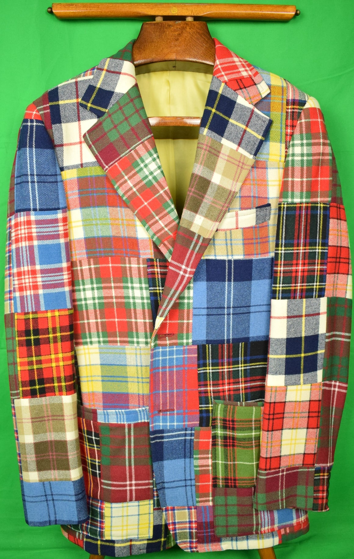 Patch Tartan Panel Gent's c1973 Sport Jacket Sz: 40R