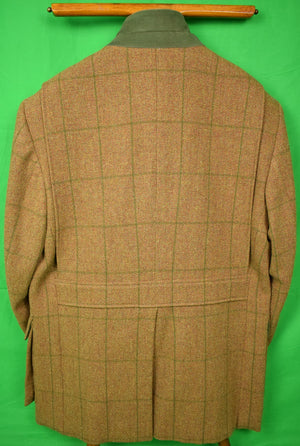 Holland & Holland Brown Tweed w/ Olive Windowpane Shooting Jacket Sz: 44L