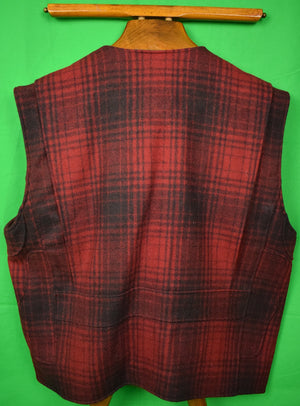 Abercrombie & Fitch 'Country Clothes' Red/ Black Plaid Shooting Vest Sz: XL