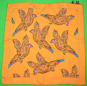 Henry Poole Savile Row 'Pheasant' Bronze Silk Pocket Square