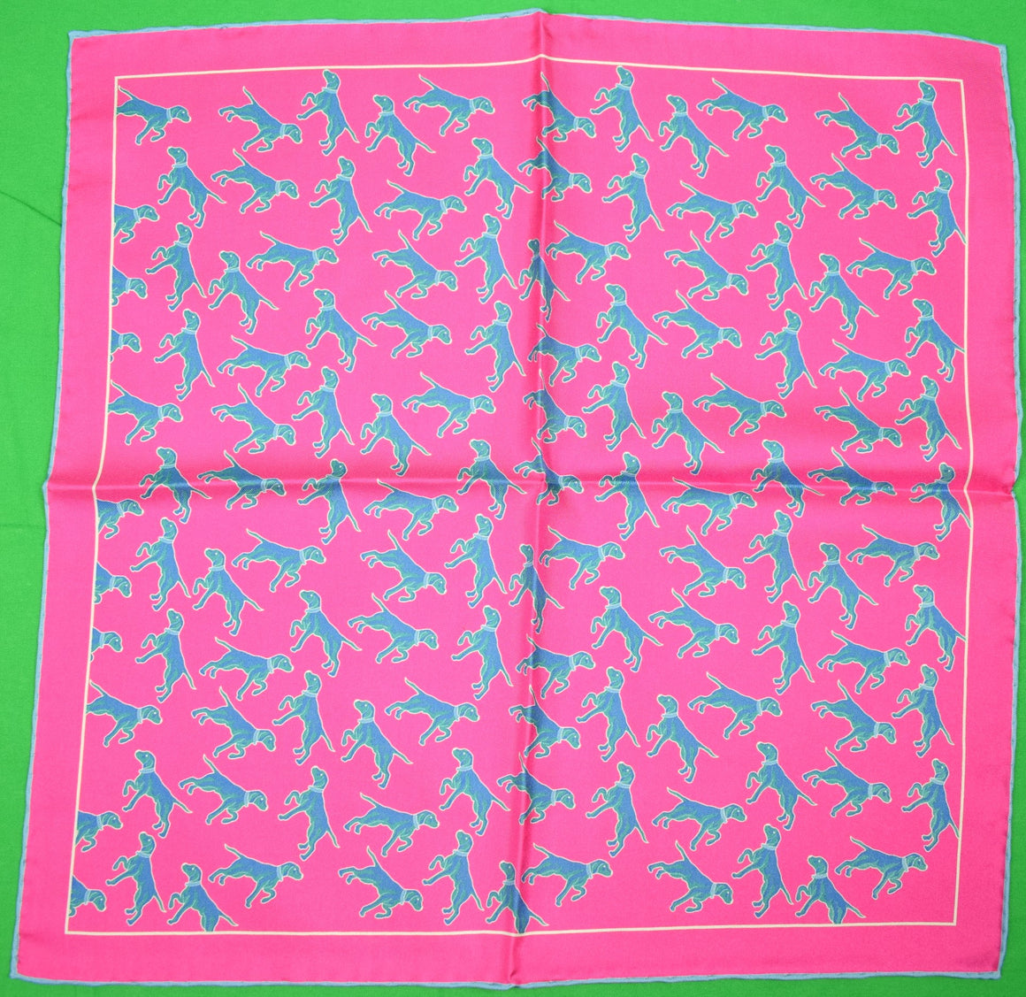 Seaward & Stearn 'Pointer' English Rose Silk Pocket Square