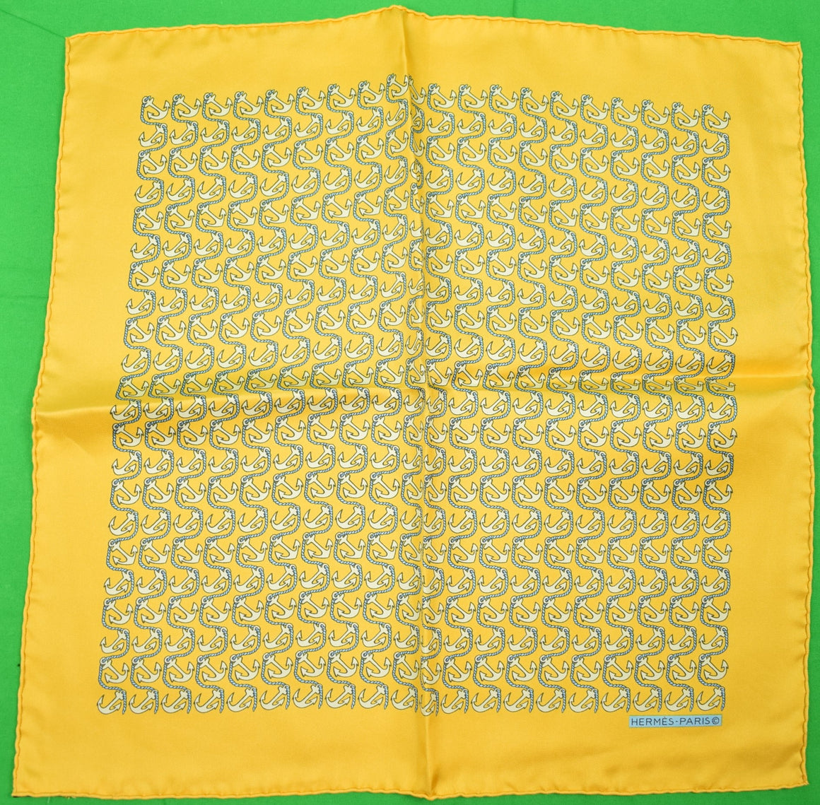 Hermes 'Anchor Waves' Yellow Silk Pocket Square