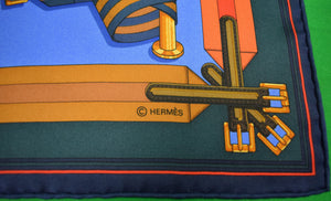 Hermes Paris 'Harness Belts' Silk Pocket Sq (Sold!)