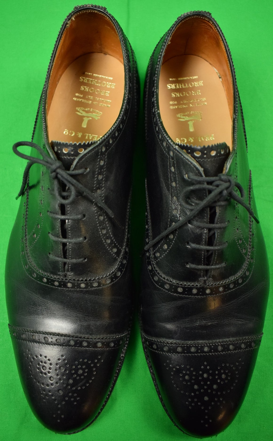 Peal & Co for Brooks Brothers Black Cap Toe Oxfords Sz 11 D