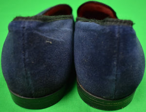 Carroll & Co Navy Velvet English Slippers w/ 'Crown' Bullion Motif Sz: 11-1/2