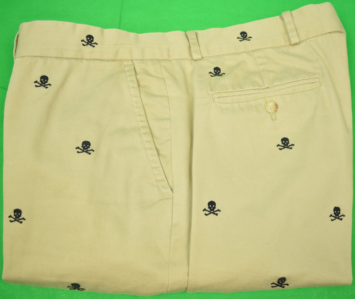 Rugby Ralph Lauren Khaki Brushed Cotton Trousers w/ Embroidered Skull & Crossbones Sz 36'W