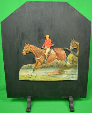 Hand-Painted Steeplechaser #3 Doorstop/ Wood Slat Screen