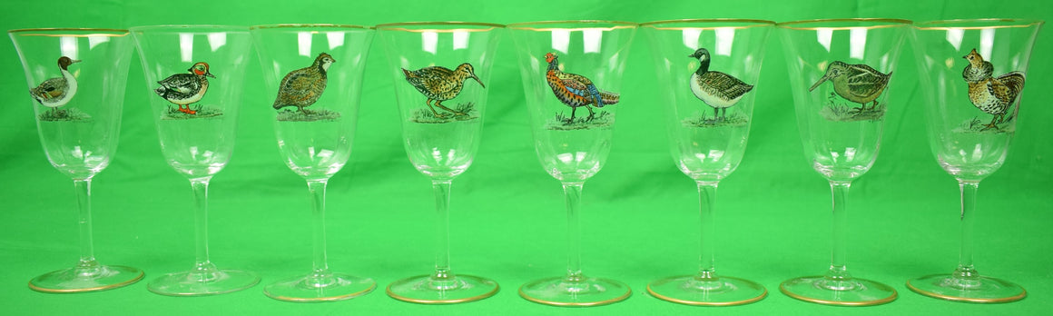Set of 8 Cyril Gorainoff Hand-Enamel Painted Game Birds Goblets