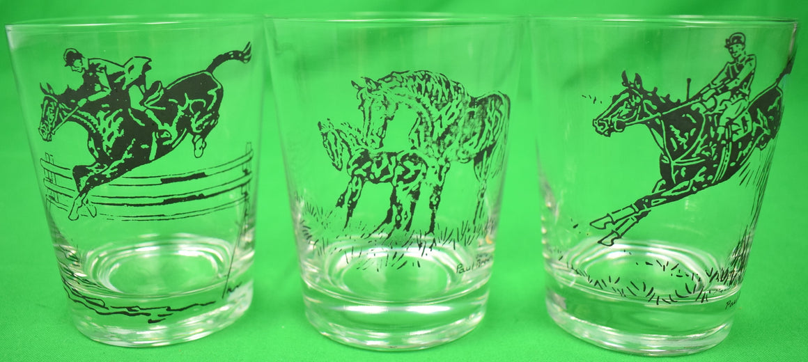 Set of 3 Paul D. Brown for Brooks Brothers Equestrian 'Rocks' Glasses