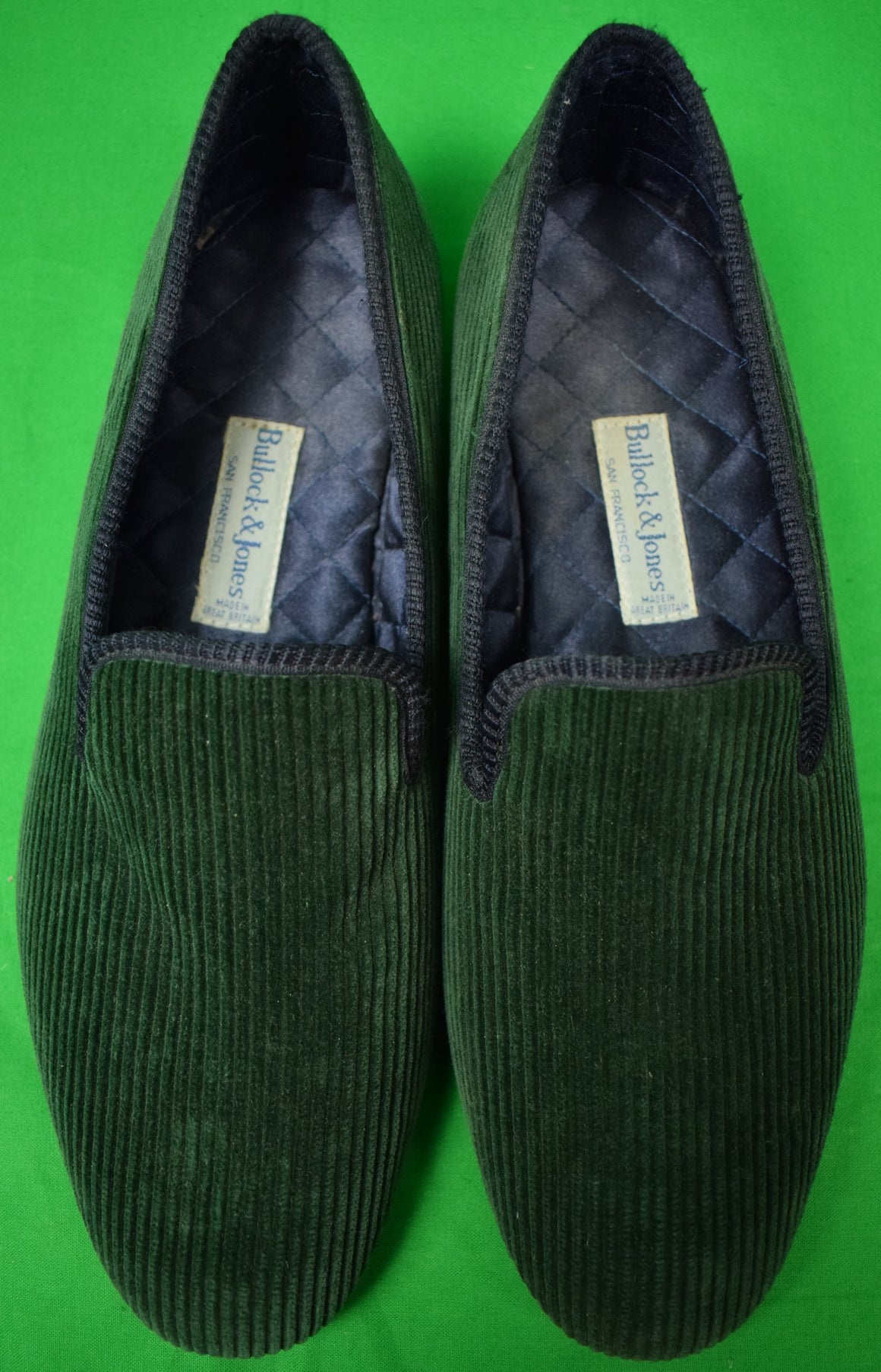 Bullock & Jones Green Corduroy English Slippers Sz 10-1/2""