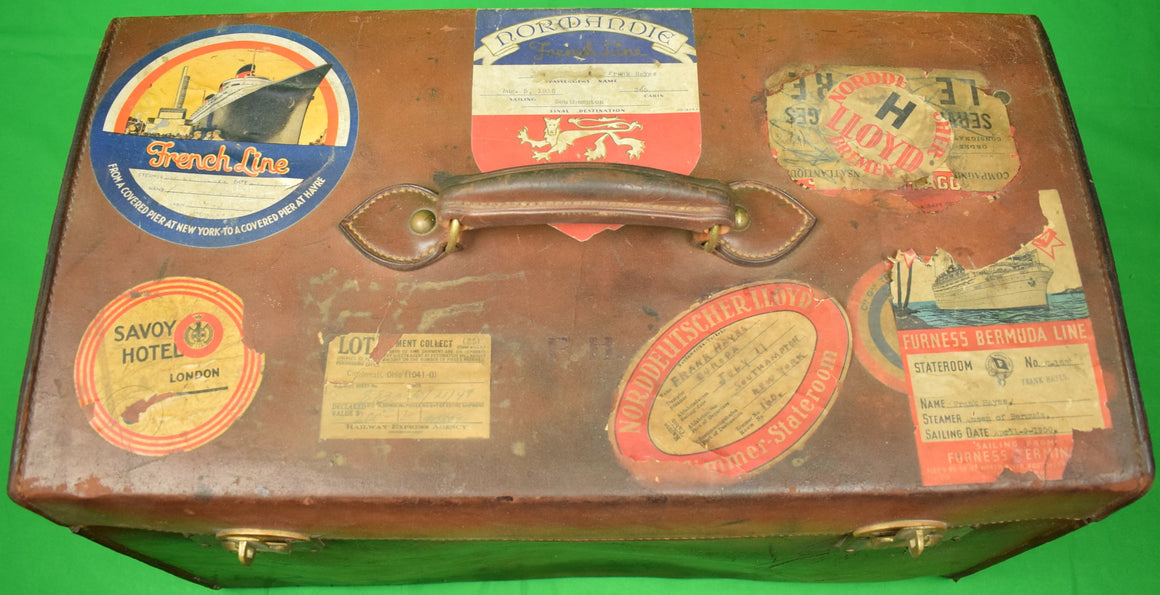 """Brooks Brothers Leather c1930s Steamer Trunk/ Valet Case"""