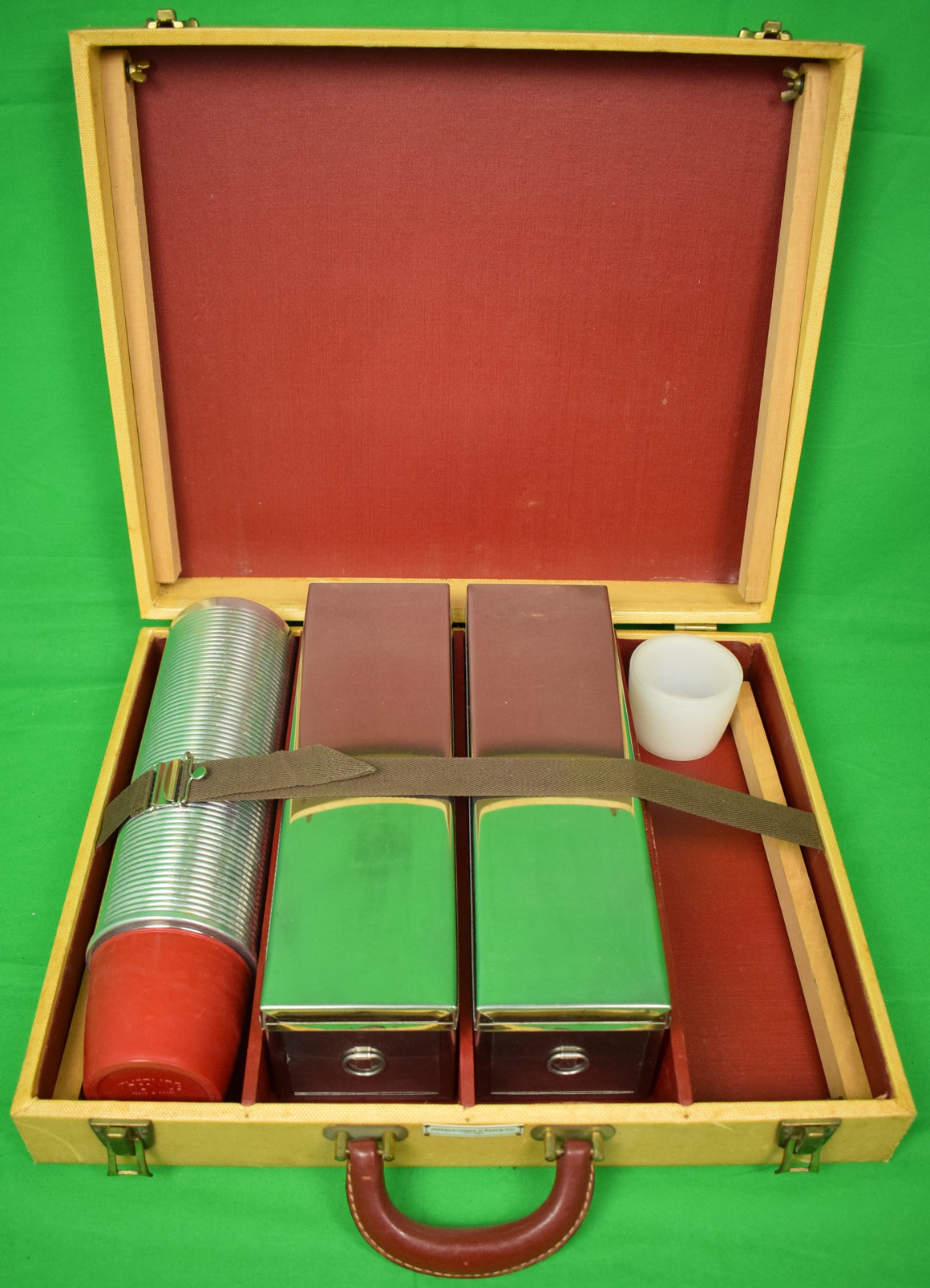 Abercrombie & Fitch Picnic Case/ Table w/ Thermos Canister & 2 Biscuit Tins