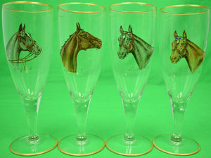 Set of 4 Cyril Gorainoff Horsehead Pilsner Glasses