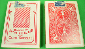 Gaming Box Set of Two Trays of Bakelite Poker Horse Racing Chips w/ 2 Decks of Cards