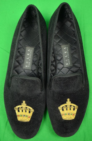 Sulka Black Velvet English Slippers w/ Crown Bullion Emblem Sz: 11