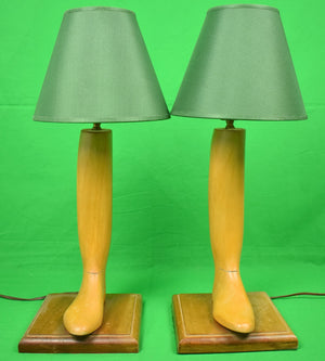 Pair of Henry Maxwell London Oak Boot Tree Table Lamps