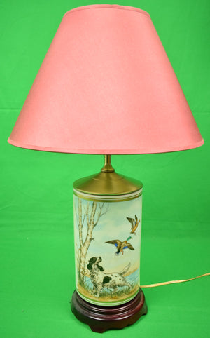 Frank Vosmansky English Setter w/ Hand-Painted Ducks-in-Flight Table Lamp