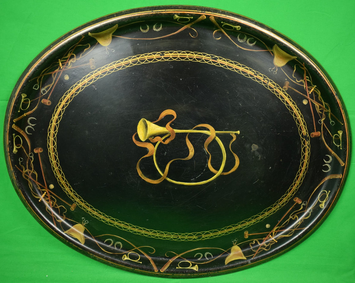 Hand-Painted Black Toile Equestrian Tray Table