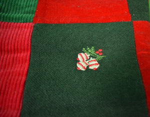 The Andover Shop Patchwork Flannel/ Velvet/ Cord Embroidered X-mas Stocking