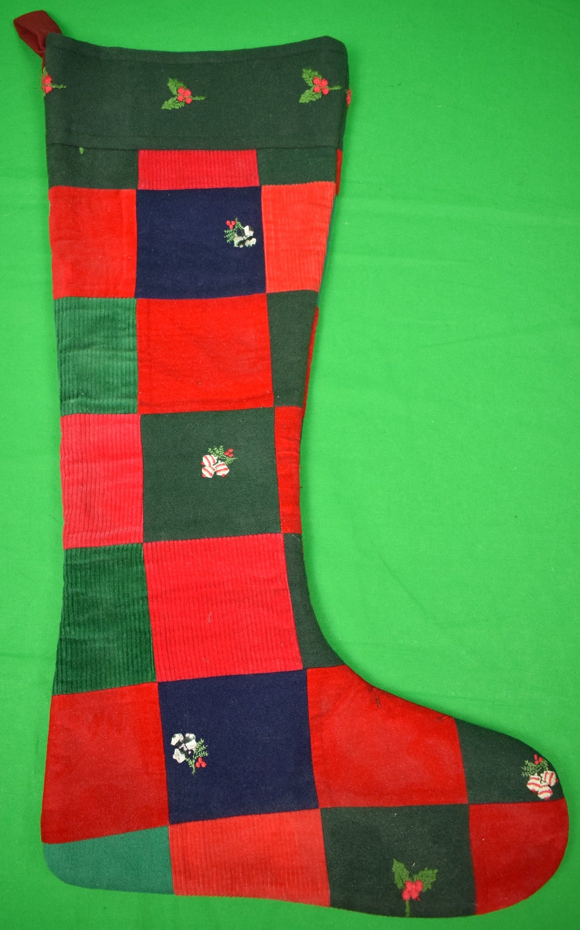 The Andover Shop Patchwork Flannel/ Velvet/ Cord Embroidered X-mas Stocking (SOLD)