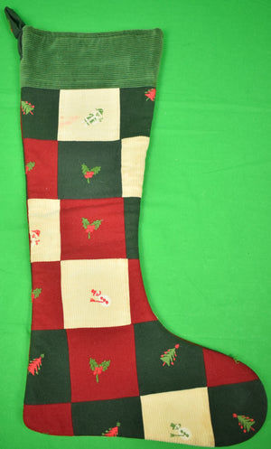 The Andover Shop Patchwork Flannel/ Corduroy Emb X-mas Trees & Holly Christmas Stocking