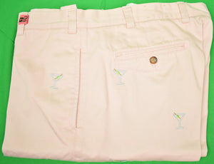"Orvis Shell Pink Chinos w/ Emb Martini Glasses Sz 40""W"