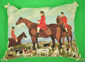 Petit-Needlepoint Fox-Hunt Pillow