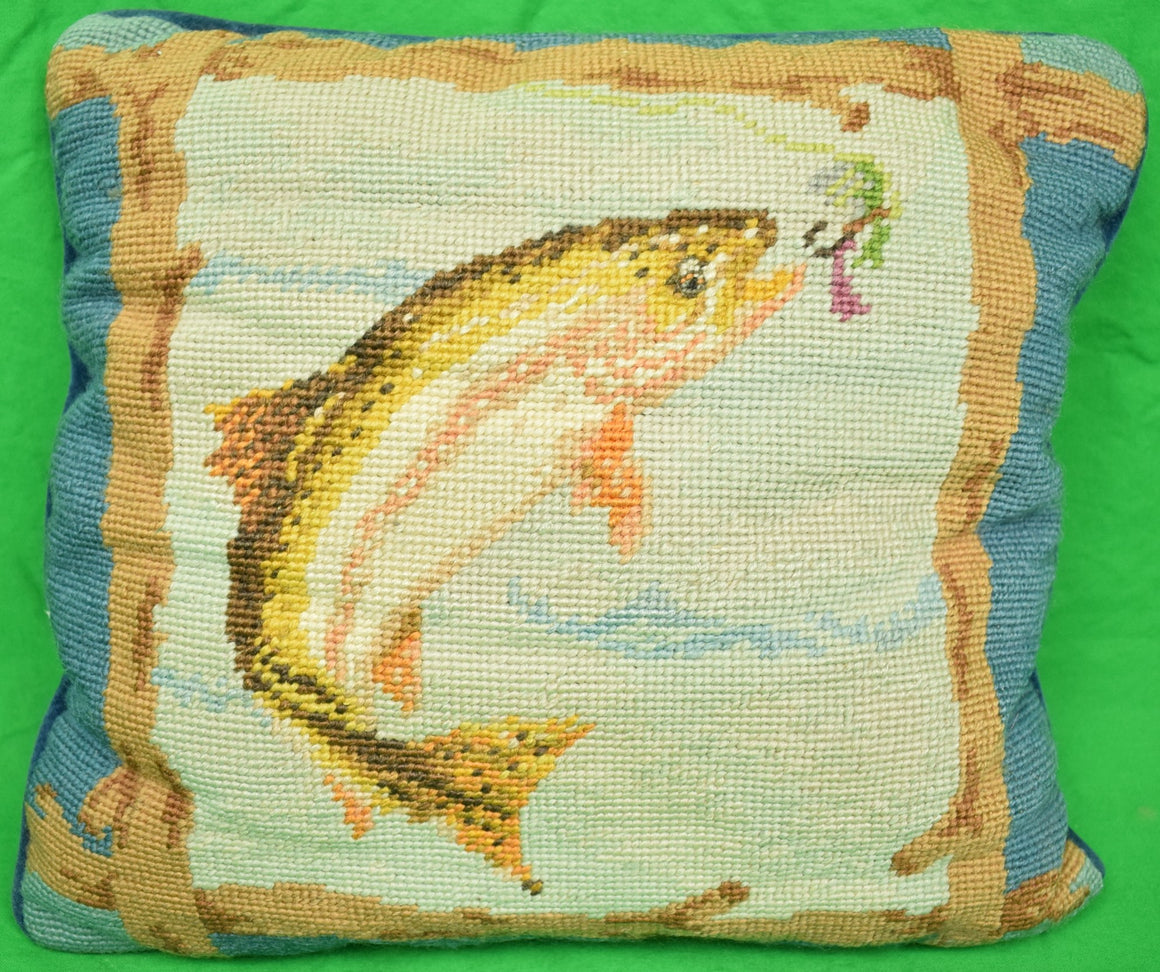 "Hand-Needlepoint ""Leaping Trout"" Pillow"