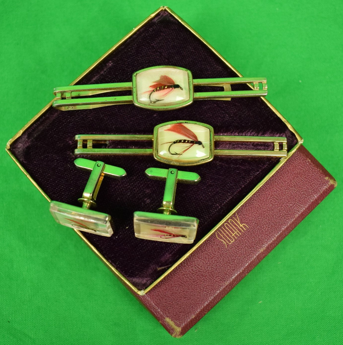 Swank Box Set of Trout Fly 2 Tie Bars & Pair of T-Back Cufflinks