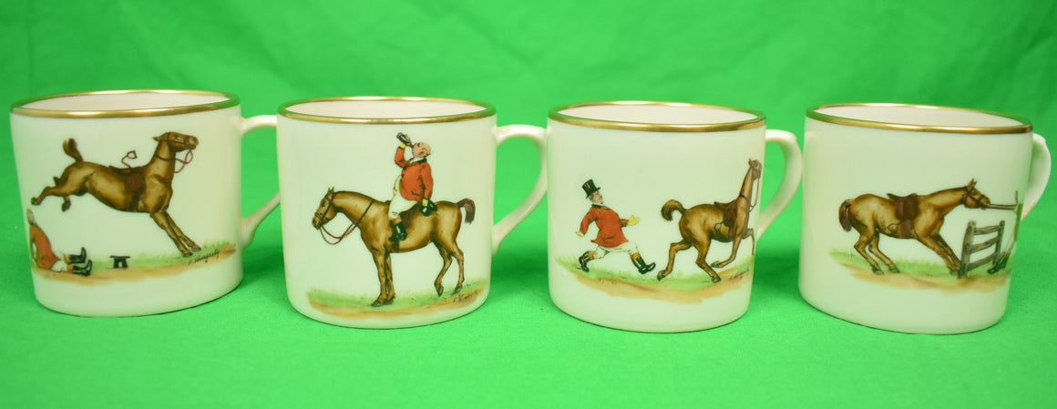 Set of 4 Abercrombie & Fitch Fox-Hunt Demitasse Andover China Cups Hand-Painted by Frank Vosmansky
