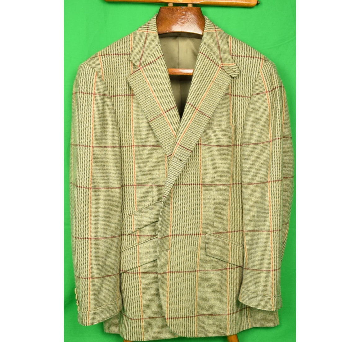 Ralph Lauren Purple Label English Russell Plaid Cashmere Jacket Sz 42R