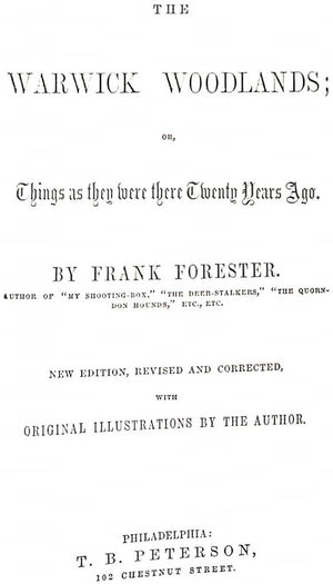 """Sporting Scenes and Characters: Volumes I & II"" FORESTER, Frank"