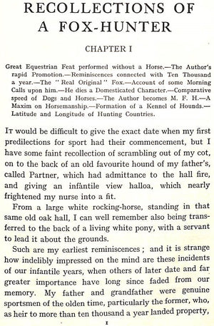 """Recollections of a Fox-Hunter"" ""SCRUTATOR"""