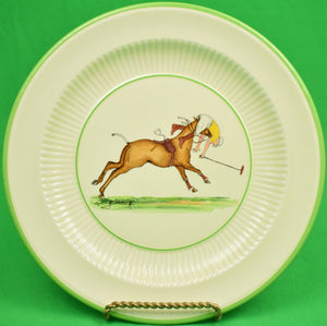 Set of 7 Cyril Gorainoff by Rigways Old Ivory Yellow Polo Player Plates