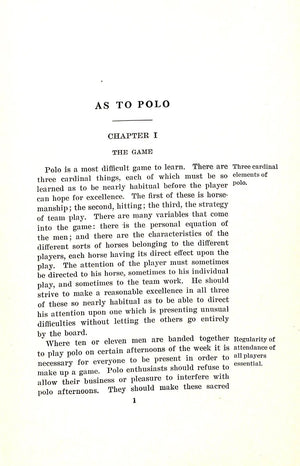 """As To Polo"" 1929 Forbes, William Cameron"