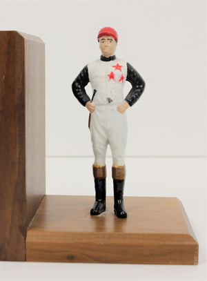 "Pair of ""21"" Club Hand-Painted c1980s Jockeys on Wood Bookends"