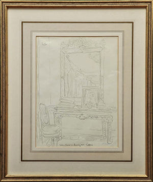 Cecil Beaton Original Pencil Sketch 'Table and Mirror' in Reddish House