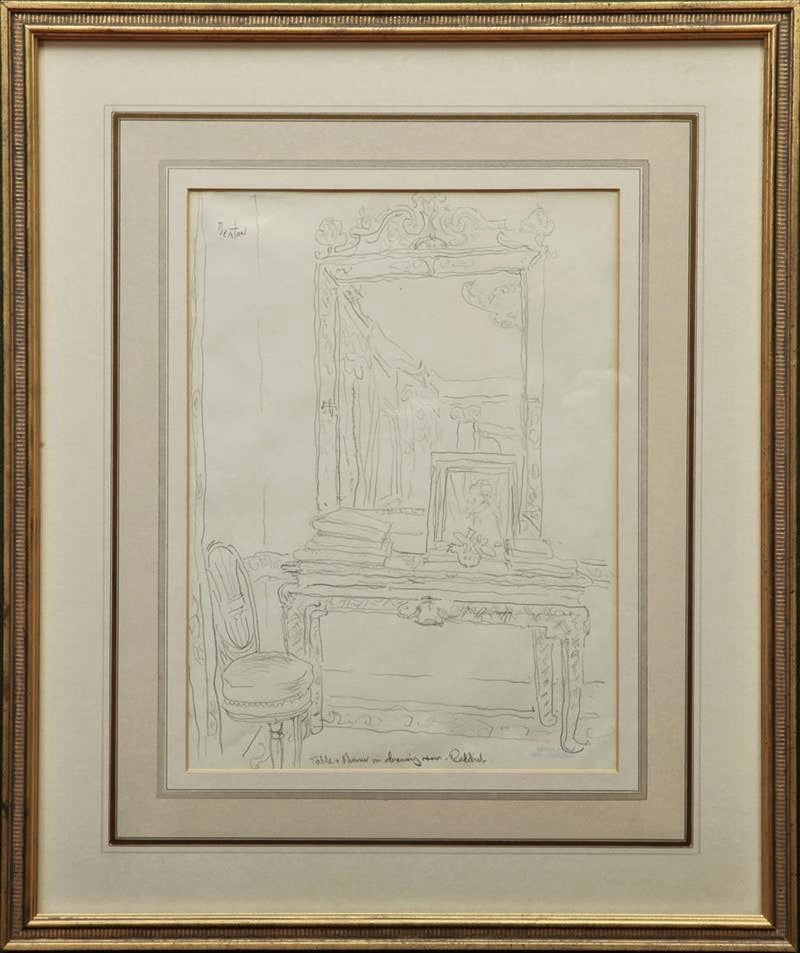"""Table and Mirror in Drawing Room at Reddish House"" Original Pencil Drawing by Cecil Beaton (SOLD)"