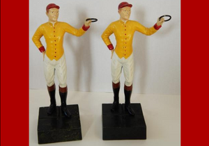 "Pair of ""21"" Club c1950s Yellow w/ Red Cap Jockey Bookends (SOLD)"