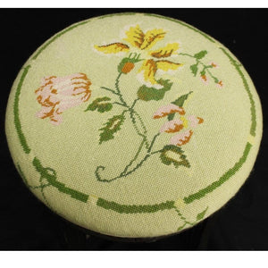 Floral Celadon Needlepoint Cushion Stool