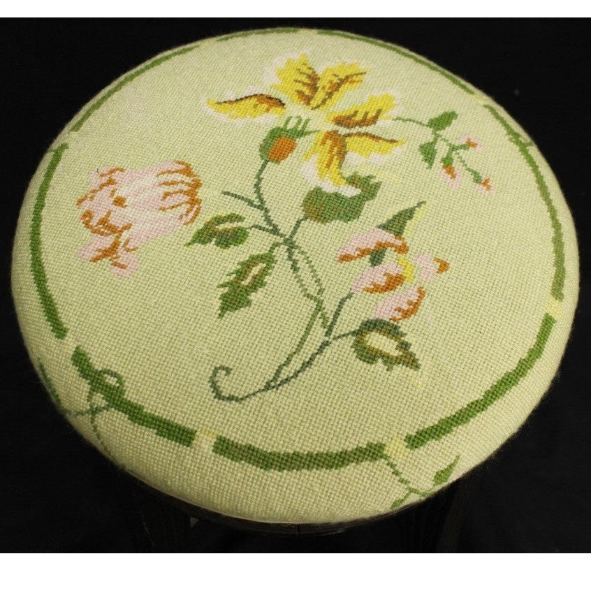 Celadon Floral Needlepoint Cushion Stool
