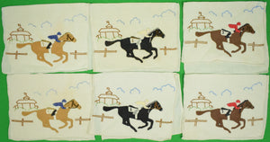 Set of 6 Maderia Linen Cocktail Napkins w/ Embroidered Jockeys & Race Horses