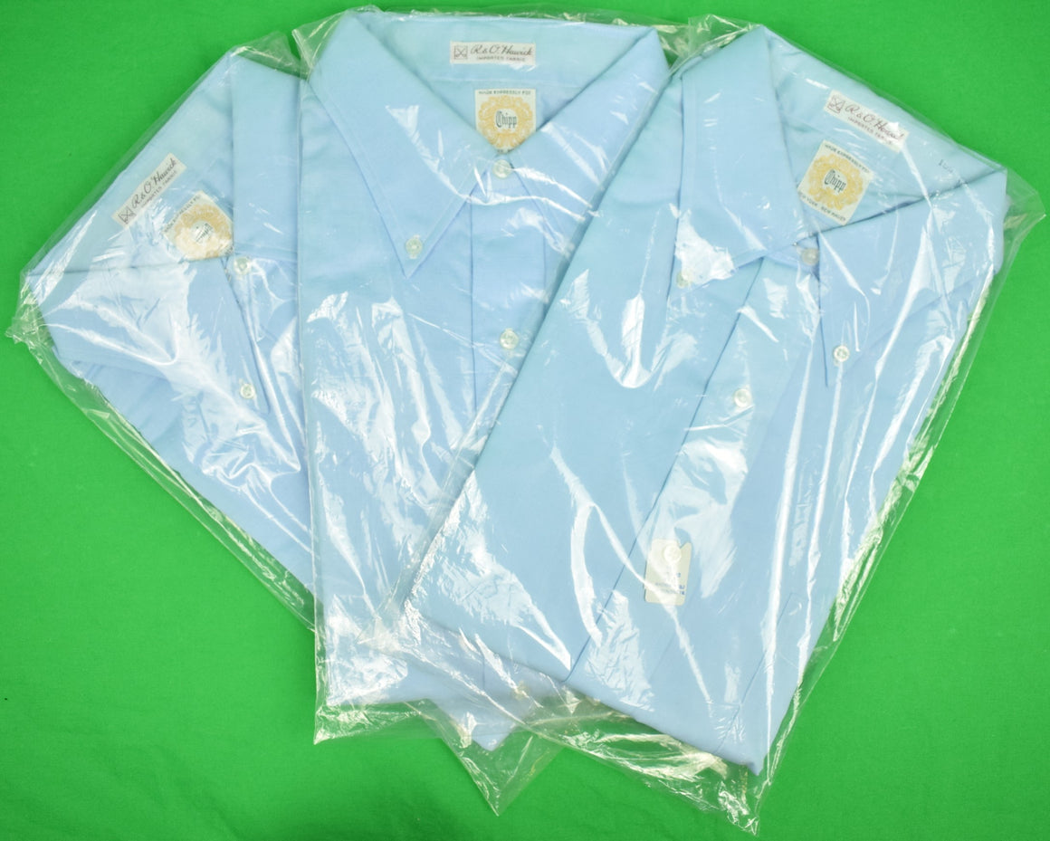 Chipp Blue Broadcloth B/D Dress Shirts Sz: 15-1/2 x 33