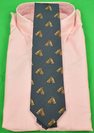 Drakes of London for Alan Flusser Horse Head Ancient Madder Navy Silk Tie