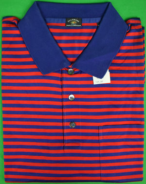Maus & Hoffman Red/Navy Stripe Polo Shirt Sz XXL (New w/ Tag!)