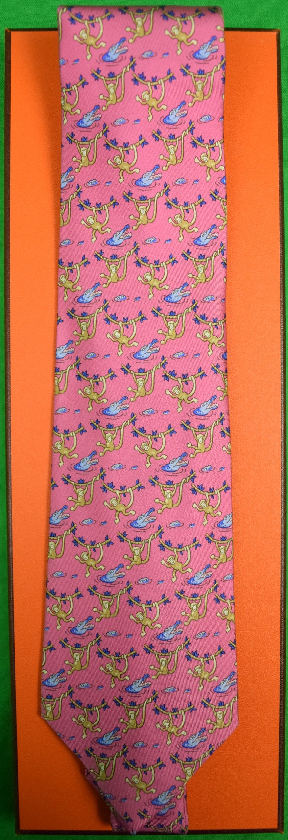 Hermes Paris Monkeys & Blue Alligators on Rose Silk Tie (New w/ Tag!)