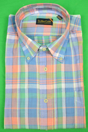 The Andover Shop by F.A. MacCluer India Madras L/S BD Sport Shirt Sz: XL Deadstock!