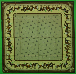 Jockeys/ Race Horses & Horse Shoes Swiss Cotton Scarf (New/ Old Stock!)