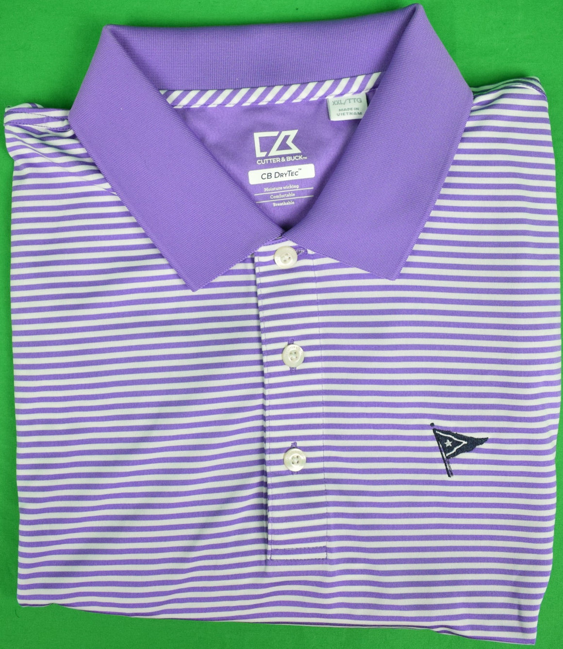 Cutter & Buck Purple/ White S/S Stripe Nantucket Yacht Club Polo Shirt Sz: XXL